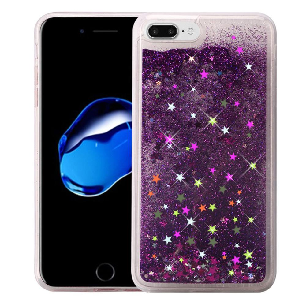 Hybrid Quicksand with Glitter Fused Flexible TPU Case - Dark Purple for iPhone 7 Plus
