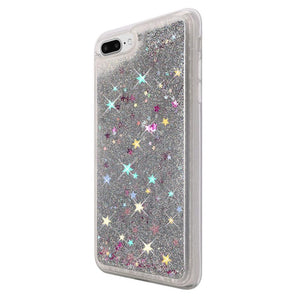 Hybrid Quicksand with Glitter Fused Flexible TPU Case - Silver for iPhone 7 Plus