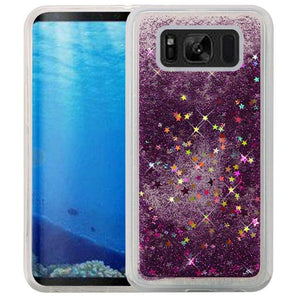 Hybrid Quicksand with Glitter Fused Flexible TPU Case - Dark Purple for Samsung Galaxy S8 SM-G950U for Samsung Galaxy S8