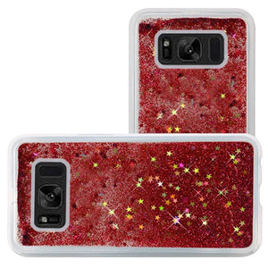 Hybrid Quicksand with Glitter Fused Flexible TPU Case - Rose Pink for Samsung Galaxy S8 SM-G950U for Samsung Galaxy S8