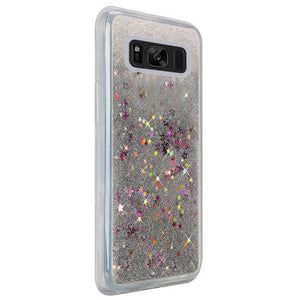 Hybrid Quicksand with Glitter Fused Flexible TPU Case - Silver for Samsung Galaxy S8 SM-G950U for Samsung Galaxy S8