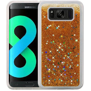 Hybrid Quicksand with Glitter Fused Flexible TPU Case - Gold for Samsung Galaxy S8 Plus SM-G955U for Samsung Galaxy S8 Plus