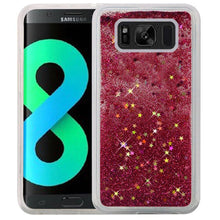 Load image into Gallery viewer, Hybrid Quicksand with Glitter Fused Flexible TPU Case - Hot Pink for Samsung Galaxy S8 Plus SM-G955U for Samsung Galaxy S8 Plus