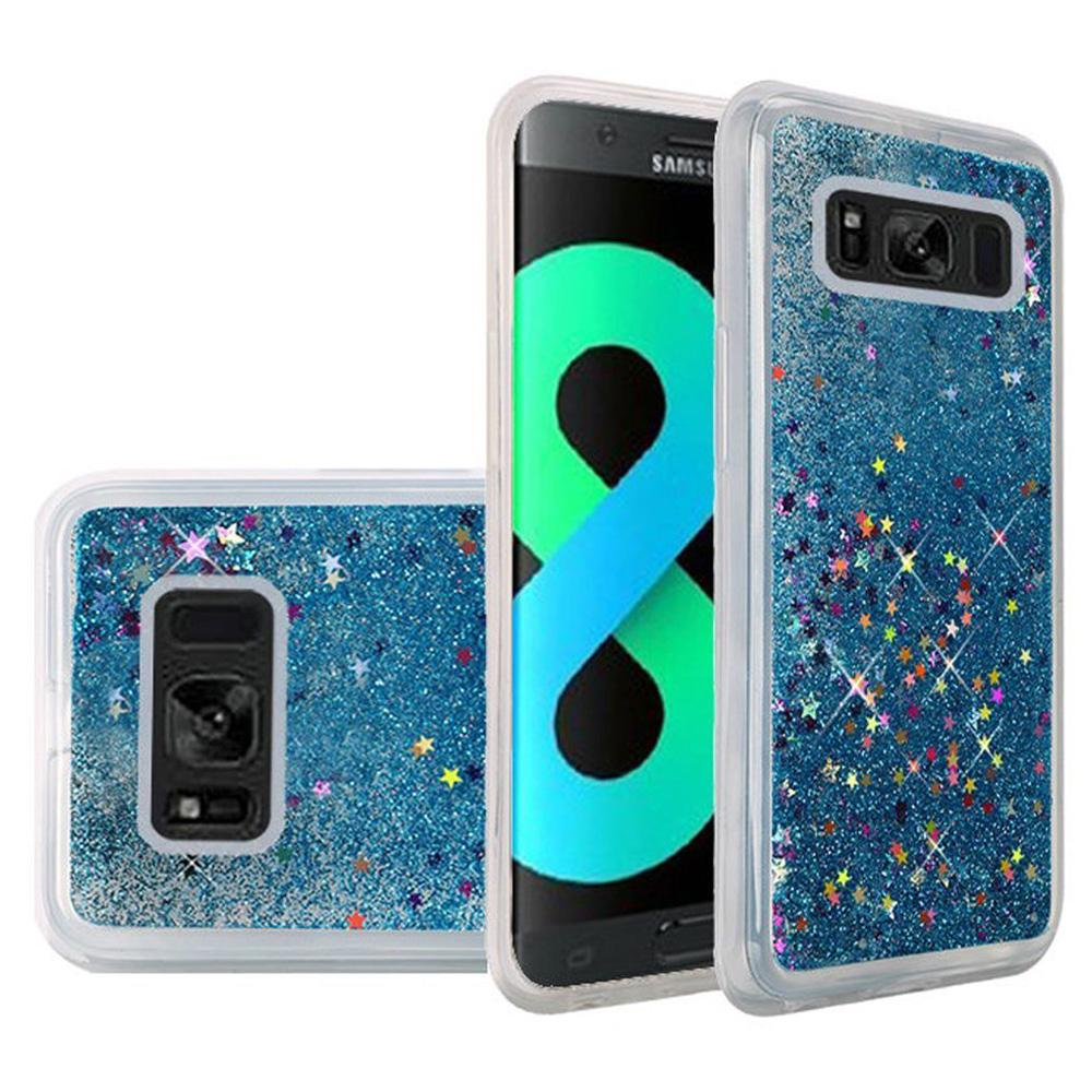 Hybrid Quicksand with Glitter Fused Flexible TPU Case - Light Blue for Samsung Galaxy S8 Plus SM-G955U for Samsung Galaxy S8 Plus