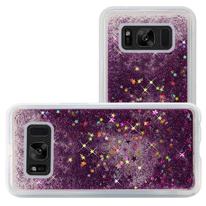 Hybrid Quicksand with Glitter Fused Flexible TPU Case - Dark Purple for Samsung Galaxy S8 Plus SM-G955U for Samsung Galaxy S8 Plus