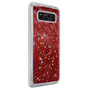 Hybrid Quicksand with Glitter Fused Flexible TPU Case - Rose Pink for Samsung Galaxy S8 Plus SM-G955U for Samsung Galaxy S8
