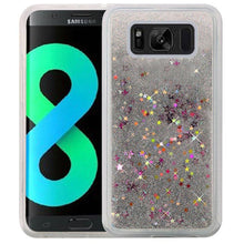 Load image into Gallery viewer, Hybrid Quicksand with Glitter Fused Flexible TPU Case - Silver for Samsung Galaxy S8 Plus SM-G955U for Samsung Galaxy S8