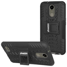 Load image into Gallery viewer, AMZER Shockproof Warrior Hybrid Case for LG K10 2017/Harmony M257 - Black/Black