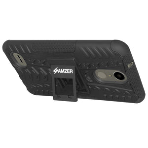 AMZER Shockproof Warrior Hybrid Case for LG K10 2017/Harmony M257 - Black/Black