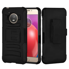 Load image into Gallery viewer, Rugged TUFF Hybrid Armor Hard Defender Case with Holster - Black/ Black for Motorola Moto E4