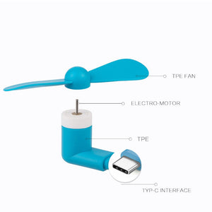 USB Type C Compatible Devices Mini Cooler Fan - Blue
