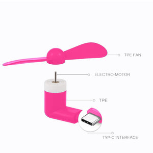 USB Type C Compatible Devices Mini Cooler Fan - Pink