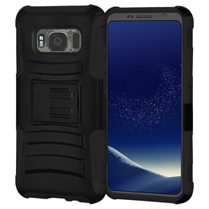 Rugged TUFF Hybrid Armor Hard Defender Case with Holster for Samsung Galaxy S8 Active - Black/Black