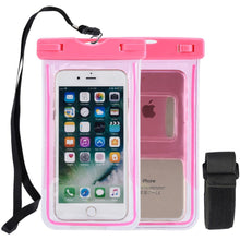 Load image into Gallery viewer, Universal Waterproof Transparent Pouch/ Glows in Dark Dry Bag With Arm Band Function - Neon Pink