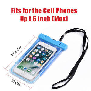 Universal Waterproof Transparent Pouch/ Glows in Dark Dry Bag With Arm Band Function - Neon Pink
