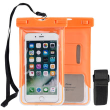 Load image into Gallery viewer, Universal Waterproof Transparent Pouch/ Glows in Dark Dry Bag With Armband Function - Neon Orange