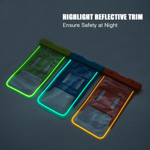 Universal Waterproof Transparent Pouch/ Glows in Dark Dry Bag With Armband Function - Neon Orange