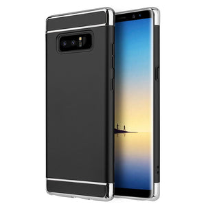 Rubberized Protective Griptech 3-Piece Case with Chrome Frame - Black for Samsung Galaxy Note8 SM-N950U