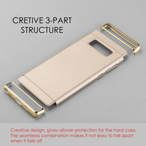 Rubberized Protective Griptech 3-Piece Case with Chrome Frame - Gold for Samsung Galaxy Note8 SM-N950U
