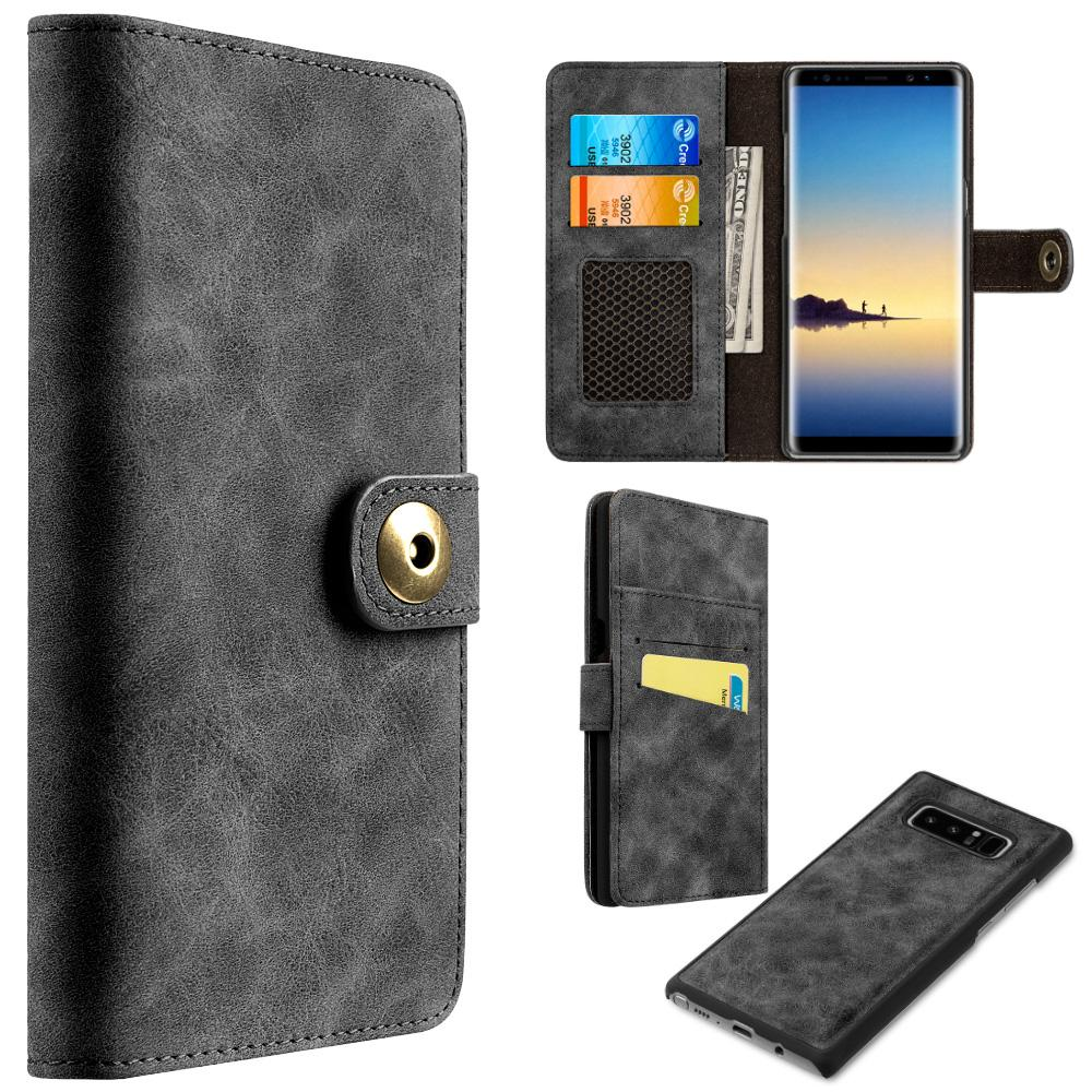 Leather Flip Wallet with Card Slot and Detachable Back Case - Black for Samsung Galaxy Note8 SM-N950U