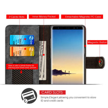 Load image into Gallery viewer, Leather Flip Wallet with Card Slot and Detachable Back Case - Black for Samsung Galaxy Note8 SM-N950U