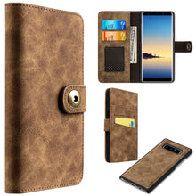 Load image into Gallery viewer, Leather Flip Wallet with Card Slot and Detachable Back Case - Brown for Samsung Galaxy Note8 SM-N950U