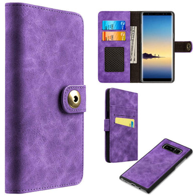 Leather Flip Wallet with Card Slot and Detachable Back Case - Purple for Samsung Galaxy Note8 SM-N950U