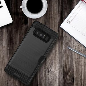 Hybrid Go Case with Credit Card Holder Slot - Black/ Black for Samsung Galaxy Note8 SM-N950U