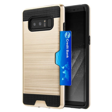 Hybrid Go Case with Credit Card Holder Slot - Black/ Gold for Samsung Galaxy Note8 SM-N950U