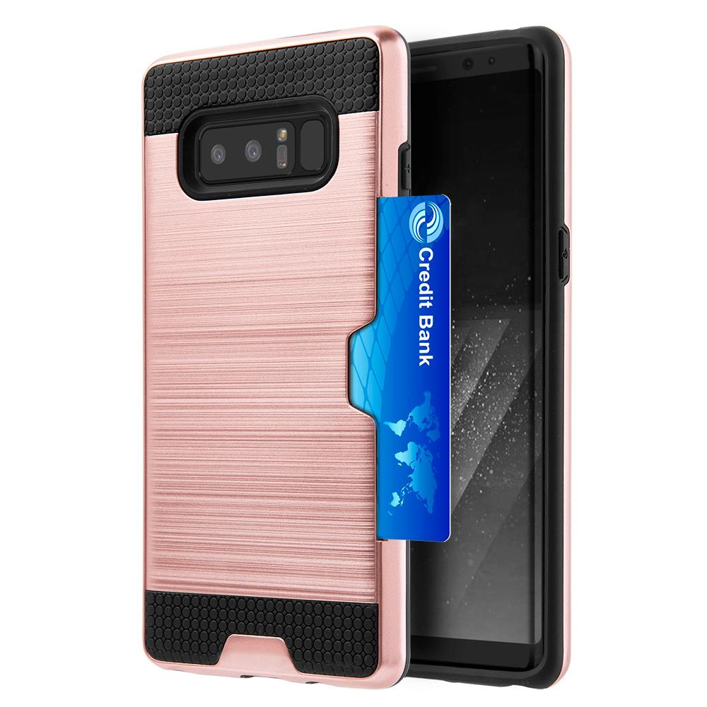 Hybrid Go Case with Credit Card Holder Slot - Black/ Rose Gold for Samsung Galaxy Note8 SM-N950U
