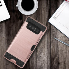 Load image into Gallery viewer, Hybrid Go Case with Credit Card Holder Slot - Black/ Rose Gold for Samsung Galaxy Note8 SM-N950U