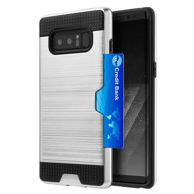 Hybrid Go Case with Credit Card Holder Slot - Black/ Silver for Samsung Galaxy Note8 SM-N950U