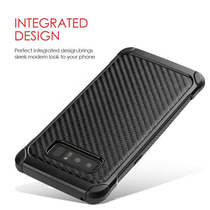 Hybrid Carbon Case with Carbon Fibre Design And Reinforced Hard Bumper - Black/ Black for Samsung Galaxy Note8 SM-N950U