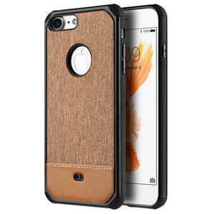 Canvas Dual Tone Hard TPU Hybrid Protective Case - Brown for iPhone 7, iPhone SE 2020