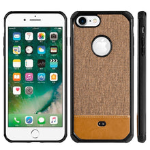 Load image into Gallery viewer, Canvas Dual Tone Hard TPU Hybrid Protective Case - Brown for iPhone 7, iPhone SE 2020