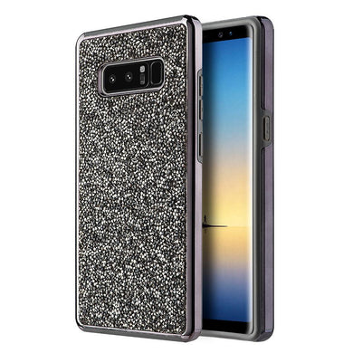 Hybrid Diamond Platinum Collection Bumper Case with Electroplated Frame - Black for Samsung Galaxy Note8 SM-N950U