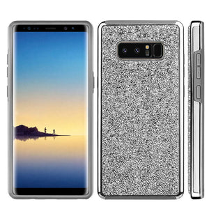 Hybrid Diamond Platinum Collection Bumper Case with Electroplated Frame - Silver for Samsung Galaxy Note8 SM-N950U