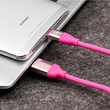 Load image into Gallery viewer, USB Type C Gummy Data Charging & Sync Cable with Aluminium Connector - Hot Pink