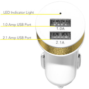 Dual USB Car Charger - White/ Metallic Gold