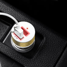 Load image into Gallery viewer, Dual USB Car Charger - White/ Metallic Gold