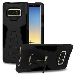AMZER Dual Layer Hybrid KickStand Case - Black/ Black for Samsung Galaxy Note8 SM-N950U