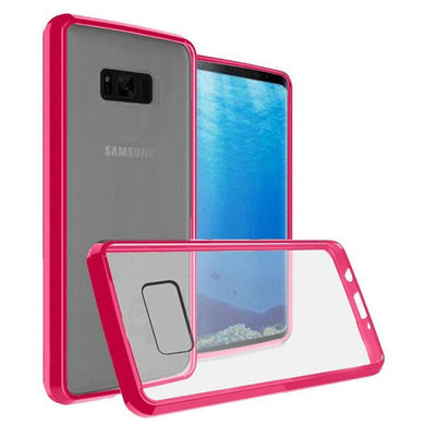 Premium Slim Clear Transparent Hard PC TPU Hybrid Bumper Case - Clear/ Hot Pink for Samsung Galaxy Note8 SM-N950U