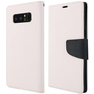 Trendy Wallet Flip Credit Card Case With Stand - White for Samsung Galaxy Note8 SM-N950U