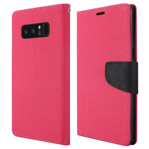 Trendy Wallet Flip Credit Card Case With Stand for Samsung Galaxy Note8 SM-N950U - Hot Pink