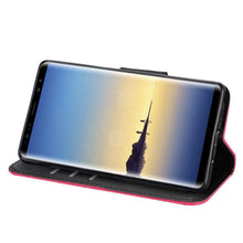 Load image into Gallery viewer, Trendy Wallet Flip Credit Card Case With Stand for Samsung Galaxy Note8 SM-N950U - Hot Pink