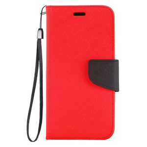 Trendy Wallet Flip Credit Card Case With Stand - Red for Samsung Galaxy Note8 SM-N950U