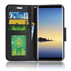Trendy Wallet Flip Credit Card Case With Stand - Rose Gold for Samsung Galaxy Note8 SM-N950U