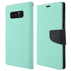 Trendy Wallet Flip Credit Card Case With Stand - Teal for Samsung Galaxy Note8 SM-N950U