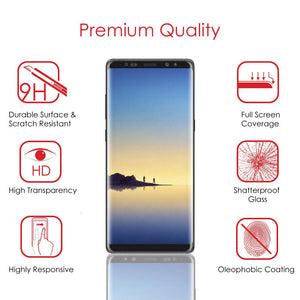 Premium Tempered Glass 2.5D Curved Ultra Clear Anti-Scratch Screen Protector - Black for Samsung Galaxy Note8 SM-N950U