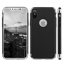 Load image into Gallery viewer, Rubberized Protective Griptech 3-Piece Case with Chrome Frame - Black for iPhone X